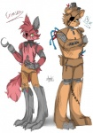 animatronic bear bow_tie canine eye_patch eyewear five_nights_at_freddy's fox foxy_(fnaf) freddy_(fnaf) hat hook machine male mammal mechanical myebi oil robot top_hat video_games   Rating: Safe  Score: 0  User: Vallizo  Date: May 23, 2015
