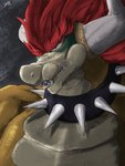 3:4 anthro bowser collar giga_bowser hair hi_res horn looking_away male mario_bros nintendo red_eyes red_hair scalie sharp_teeth simple_background solo spicyocean spiked_collar spikes super_smash_bros. teeth video_games