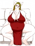 anthro big_breasts breasts canine chubby cleavage clothed clothing dress fdokkaku female fur looking_at_viewer mammal milf mother parent red_eyes sitting sofa solo white_fur   Rating: Safe  Score: 1  User: chdgs  Date: March 29, 2015