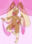 anthro clothing harem jewelry loincloth looking_at_viewer lopunny male nintendo plain_background pokémon red_eyes silk solo unknown_artist video_games   Rating: Questionable  Score: 6  User: buttstorm  Date: July 28, 2013