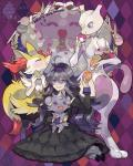 black_clothing black_dress braixen canine diamond_background espurr fennec fox headband hex_maniac japanese_text jellicent mewtwo nintendo pokepuff pokémon stick text video_games   Rating: Safe  Score: 11  User: Fluttershy  Date: November 21, 2013