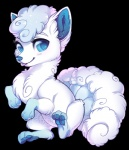 2016 alolan_vulpix alpha_channel ambiguous_gender big_eyes blue_eyes canine cute feral fluffy fox fur kiwibon mammal multi_tail nintendo pawpads paws pokémon regional_variant simple_background smile solo sparkles tongue tongue_out transparent_background video_games watermark white_fur