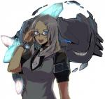 ambiguous_gender blue_eyes bracelet breasts clothing duo ear_piercing eyewear female gijinka glasses hair hairpin human jewelry kusanagikaworu looking_at_viewer mammal mega_evolution mega_steelix nintendo piercing pokémon reptile scalie silver_hair simple_background smile snake teeth vest video_games  Rating: Safe Score: 2 User: DeltaFlame Date: March 17, 2015