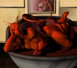 3d anthro barefoot big_butt big_thighs breasts butt claws dragon female horn looking_at_viewer lying muscles muscular_female nude pinup pose scalie solo toes vic34677   Rating: Explicit  Score: 33  User: vic34677  Date: July 29, 2012