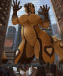 2016 belly black_claws black_fur breasts brown_fur building chair city claws cloud detailed_background dragon english_text fangs featureless_breasts featureless_crotch feline female fur green_eyes group horn inside kaiju macro male mammal navel on_glass open_mouth scalie size_difference sky solo_focus spectrumshift spots stripes table text unknown_species white_horn wide_hips  Rating: Questionable Score: 13 User: GameManiac Date: April 04, 2016