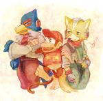 """anthro avian bird canine clothing crossover diddy_kong donkey_kong_(series) falco_lombardi fox fox_mccloud group hat jacket male mammal monkey nintendo primate scarf star_fox super_smash_bros unknown_artist video_games  Rating: Safe Score: 1 User: Cαnε751 Date: June 14, 2015"""""""