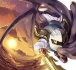 alien cape clothing cloud digital_media_(artwork) fisheye_lens gloves hi_res janis_igaderu kirby_(series) male mask melee_weapon meta_knight nintendo shoulder_pads solo sword video_games water weapon wings  Rating: Safe Score: 2 User: Cαnε751 Date: December 16, 2015
