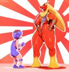 anthro avian big_breasts bikini bird blaziken blue_eyes breasts brown_hair clothing duo female hair hands_on_hips human larger_female leotard male mammal nintendo open_mouth pokémon pokémorph red_body shaking signature size_difference sling_bikini smaller_male smile sunibee sweat swimsuit thick_thighs trembling video_games yellow_sclera  Rating: Questionable Score: 40 User: ROTHY Date: January 02, 2016