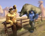 2012 abs anthro barefoot belt biceps big_muscles blue_body bovine brown_body canteen carrying cattle clothed clothing cowboy_hat duo feral flask fur group hair half-dressed hat holding horn huge_muscles lion21 male mammal muscular muscular_male pants pecs standing straw topless water wet wild_west_c.o.w.-boys_of_moo_mesa  Rating: Safe Score: 15 User: slyroon Date: September 29, 2015
