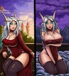 antennae arm_hold arm_support balcony bed_sheet beige_horns beige_skin big_breasts blood_elf breasts choker cleavage clothed clothing cloud cyan_eyes cyan_sclera day elf evening_gown female flashing glowing glowing_eyes hair hill huge_breasts humanoid kneeling leaning leaning_forward legwear looking_at_viewer necklace night ottomarr_(artist) outside overcast palace panties pendant posture_collar red_dress rubber side_slit sitting skimpy sky stockings thong underwear video_games warcraft white_hair window world_of_warcraft  Rating: Questionable Score: 10 User: XxFR0STxX Date: August 22, 2013""