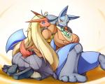 2014 3_toes anthro avian barefoot big_breasts blaziken blonde_hair blue_eyes blush breasts clothed clothing day-t duo female hair huge_breasts long_hair lucario nintendo plain_background pokémon pokémorph red_eyes shoes sitting skirt spikes toes video_games white_background   Rating: Safe  Score: 17  User: Finchmaster  Date: April 29, 2014