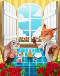 2016 anthro buckteeth cake canine chair claws coffee_cup coffee_pot disney duo female flower food fork fox gloves_(marking) green_eyes itbe judy_hopps lagomorph male mammal markings nick_wilde plant purple_eyes rabbit rose sitting smile table teeth window zootopia  Rating: Safe Score: 6 User: Vallizo Date: April 28, 2016