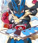 canine chocolate jackal konami looking_at_viewer lucario mammal mega_evolution mega_lucario nintendo parody pokémon video_games yu-gi-oh そば茶   Rating: Safe  Score: 15  User: SYphonkedo  Date: July 03, 2014