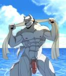 abs anthro balls biceps big_muscles black_hair black_nose canine censored facial_hair fur hair humanoid_penis male mammal muscles nipples pecs penis red_eyes scar smile solo standing toned towel water white_fur white_hair 阿狼  Rating: Explicit Score: 2 User: Vallizo Date: August 12, 2015