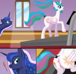 2015 anus blue_eyes blue_hair bsting butt cutie_mark duo equine exercise female feral fire friendship_is_magic fur hair horn horse long_hair mammal match my_little_pony princess_celestia_(mlp) princess_luna_(mlp) pussy smile unicorn winged_unicorn wings   Rating: Explicit  Score: -6  User: BSting  Date: February 16, 2015