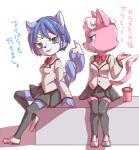 anthro bow_tie canine cat dialogue duo feline female fox japanese_text katt_monroe krystal mammal nintendo plain_background skirt smile star_fox text uniform video_games white_background   Rating: Safe  Score: 8  User: CosmicHare  Date: February 17, 2015