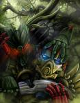 armor arrow arrowed bionicle blood blue_eyes corpse death digital_media_(artwork) duo_focus fight gali group horn illustriousv knife lego machine mask not_furry outside red_eyes robot saliva tahu tree umarak weapon  Rating: Safe Score: 2 User: DeltaFlame Date: February 04, 2016