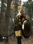 2016 3d_(artwork) anthro belt black_fur breasts brown_eyes brown_fur brown_nose cheetah clothed clothing digital_media_(artwork) feline female forest fur hattonslayden hi_res legwear looking_at_viewer mammal melee_weapon outside real shield slit_pupils solo spots sword tree weapon white_fur  Rating: Safe Score: 8 User: GameManiac Date: April 28, 2016