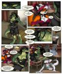 alcohol ambiguous_gender anthro beverage clothing comic corset crocodile crocodilian darkpenguin diamondwing drake_(disambiguation) female food group hi_res leather madame_andi noira reptile saloon scalie  Rating: Safe Score: 6 User: DiamondWing Date: December 29, 2015