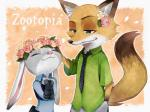 2016 anthro canine clothing cute derori disney duo female flower fox fur green_eyes grey_fur judy_hopps lagomorph long_ears male mammal nick_wilde orange_fur plant police_uniform purple_eyes rabbit size_difference uniform zootopia  Rating: Safe Score: 3 User: Vallizo Date: May 06, 2016