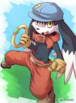anthro black_fur clothed clothing collar feline fur half-dressed hat klonoa klonoa_(series) looking_at_viewer male mammal nurinaki pants ring solo topless yellow_eyes  Rating: Safe Score: 6 User: Winged-Lucario Date: January 30, 2015