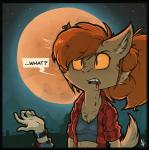 2017 ambiguous_gender anthro blood breasts brown_fur canine clothed clothing death dialogue duo english_text female female_focus flannel fur ghoul_school hair human mammal moon nexivian night open_mouth open_shirt orange_eyes orange_hair reaction_image scooby-doo_(series) sharp_teeth solo_focus speech_bubble teeth text watch were werewolf winnie_werewolf
