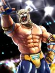 2015 abs animal_head anthro armpits athletic biceps big_muscles black_fur brown_fur bulge clothed clothing exhibitionism faceless_male fangs feline fingerless_gloves for_a_head fur gloves glowing green_eyes human hybrid jaguar king_(tekken) lights looking_away male mammal manly mask muscular muscular_male navel nipples open_mouth pants pecs pink_nose pointing pose raised_arm royalty shadow sharp_teeth shiny solo spots standing tan_fur teeth tekken tongue topless underwear video_games whiskers white_fur wrestler 塩タン  Rating: Safe Score: 4 User: jaguaryou Date: February 11, 2015