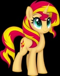 2016 alpha_channel ctb-36 cutie_mark equestria_girls equid female feral green_eyes hair horn mammal multicolored_hair my_little_pony simple_background smile solo sunset_shimmer_(eg) transparent_background two_tone_hair unicorn