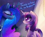 2016 better_version_at_source blue_hair blush cutie_mark duo english_text equine feathered_wings feathers female feral friendship_is_magic fur hair hi_res horn long_hair lyra-senpai mammal multicolored_hair my_little_pony princess_luna_(mlp) purple_eyes purple_fur smile text twilight_sparkle_(mlp) unicorn winged_unicorn wings  Rating: Safe Score: 17 User: Somepony Date: April 09, 2016