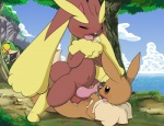 anal anal_penetration anthro anus balls brown_fur butt cloud cum cum_inside cumshot digitigrade eevee erection eyes_closed fur hindpaw lopunny lying male male/male nintendo nude on_back open_mouth orgasm outside paws penetration penis pokémon red_eyes sex size_difference sky snivy spread_legs spreading tapering_penis tricksta video_games   Rating: Explicit  Score: 31  User: slyroon  Date: March 05, 2013