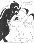anthro anthro_on_feral bambi bestiality black_and_white cervine cub deer disney duo feral flower_(character) interspecies male male/male mammal mike_sherman monochrome oral penis skunk young  Rating: Explicit Score: 3 User: Nightdancer Date: March 26, 2015""