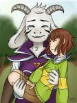 5_fingers ambiguous_gender asriel_dreemurr beige_skin blurred_background boss_monster bridal_carry brown_hair canihaspie_(artist) caprine chara_(undertale) clothed clothing day duo eyes_closed fully_clothed fur goat god_of_hyperdeath hair horn human legwear long_ears male mammal outside pants rolled_up_sleeves short_hair shy socks sweater tears tree undertale video_games white_furRating: SafeScore: 8User: zidanes123Date: November 15, 2016