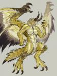 """2015 anthro black_scales capcom claws dragon elder_dragon furikake grey_background horn male monster_hunter muscles nude open_mouth orange_eyes plain_background pose scalie shagaru_magala solo teeth toe_claws video_games white_scales wings yellow_scales  Rating: Safe Score: 7 User: GameManiac Date: July 03, 2015"""""""