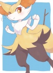 ambiguous_gender black_fur blush braixen canine cute digitigrade eyelashes feral fox fur mammal navel nintendo orange_eyes orange_fur pokémon pyonko smile solo standing stick video_games white_fur yellow_fur   Rating: Safe  Score: 8  User: DeltaFlame  Date: April 07, 2015