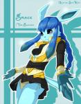 2010 anthro black_sclera blue_background blue_eyes blue_fur blue_hair blush breasts claws clothed clothing eeveelution female fur glaceon hair long_hair nintendo pokémon pokémorph simple_background skimpy skirt skykain solo teeth underwear video_games  Rating: Safe Score: 8 User: GameManiac Date: May 01, 2015