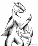 2014 back_turned black_and_white claws comic dragon fangs fins fish garchomp gills hybrid manga marine monochrome nintendo plain_background pokémon shark sketch teeth vibrantechoes video_games white_background   Rating: Safe  Score: 1  User: Blackphantom770  Date: April 19, 2014