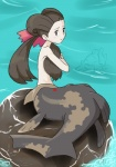 alpacapala blush brown_hair clothed clothing eyelashes female fish hair human hybrid looking_at_viewer mammal marine merfolk navel nintendo not_furry pokémon pokémon_trainer purple_eyes relicanth rock solo topless video_games water