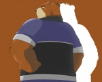 anthro bear beat_you_(artist) biceps big_muscles brown_background clothing coat fur grizzly_bear juuichi_mikazuki looking_at_viewer looking_back male mammal morenatsu muscles plain_background smile solo   Rating: Safe  Score: 6  User: BlackBoltEX  Date: August 29, 2013