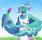 2014 animal_crossing anthro avian beak bird black_eyes clothed clothing cloud eyelashes feather feathers girly grasp half-closed_eyes happy looking_at_viewer male muscles nintendo open_mouth outside pants pavé peacock pecs rainbow rainbow_feather shirt sky smile solo tank_top video_games wing-of-chaos wings   Rating: Safe  Score: 10  User: WiiFitTrainer  Date: March 03, 2014