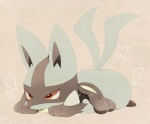 <3 ambiguous_gender blue_fur blush canine cute fur jackal japanese_text lucario mammal mow nintendo pokémon red_eyes solo tailwag text video_games  Rating: Safe Score: 8 User: DeltaFlame Date: December 09, 2014""