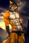 2015 abs anthro biceps black_fur black_hair black_nipples black_nose bleakcat brown_eyes bulge canine clothed clothing collar ear_piercing eyewear fox fur glasses hair looking_at_viewer male mammal muscular muscular_male nipple_piercing nipples open_mouth orange_fur orange_tail pecs piercing pinup pose red_fox smile solo standing teeth todd topless underwear white_fur  Rating: Questionable Score: 8 User: T_Fox Date: February 04, 2016