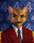 abstract_background anchorman anthro blue_eyes cat facial_hair feline looking_at_viewer magpie_(artist) male mammal mustache necktie parody ron_burgundy simple_background solo suit whiskers
