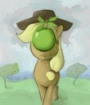 apple applejack_(mlp) equine female feral friendship_is_magic fruit horse inspired_by_proper_art luna-sedata my_little_pony pony rené_magritte solo son_of_man surrealism   Rating: Safe  Score: 3  User: Skiltaire  Date: June 15, 2011