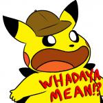 4_fingers ambiguous_gender black_eyes black_nose detective_pikachu detective_pikachu_(video_game) dialogue digital_drawing_(artwork) digital_media_(artwork) dipstick_ears english_text gaping_mouth hat nintendo nishi pikachu pokémon pokémon_(species) reaction_image red_cheeks shocked simple_background text video_games white_background yellow_body