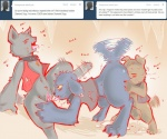 2012 anthro blue_fur blush canine clothed clothing cold-blooded-twilight collar crossgender cunnilingus diamond_dog_(mlp) dog english_text female female/female fido_(mlp) friendship_is_magic fur grey_fur group group_sex licking mammal masturbation my_little_pony oral pussy pussy_juice rover_(mlp) saliva sex spot_(mlp) text threesome tongue tongue_out tumblr vaginal yellow_eyes   Rating: Explicit  Score: 22  User: Granberia  Date: October 04, 2012