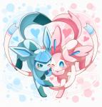 <3 ambiguous_gender big_ears blue_eyes blue_fur blue_paws blush bow cute duo eeveelution feral fur glaceon looking_at_viewer nintendo paws pink_fur pink_paws pokémon ribbons simple_background smile sylveon video_games walking white_fur ねるRating: SafeScore: 18User: taliasDate: January 05, 2017
