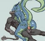 2017 5_fingers absurd_res anthro anthro_on_anthro anus aquatic_dragon avian balls beak breasts digital_media_(artwork) dragon erection eye_contact female gryphon hi_res horn huge_tail killioma long_neck looking_pleasured lying male male/female male_penetrating muscular nude on_back penetration penis pussy raised_tail reverse_missionary_position sex simple_background straddling tail_tuft thick_tail tuft vaginal vaginal_penetration