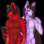 arcadius_(maxiscore) black_hair brothers canine dominax_(maxiscore) equine feline fur hair halfbreed horse hybrid male nude orange_eyes porin purple_fur red_eyes red_fur sibling stripes undead vampire   Rating: Questionable  Score: 5  User: MaxisCore  Date: June 23, 2013