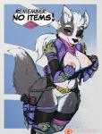 2018 anthro armor avante92 blush bottomless breasts canid canine canis chain cleft_of_venus clothed clothing condom crossgender dialogue digital_media_(artwork) double_entendre english_text exposed_breasts eye_patch eyewear female gameplay_mechanics garter_belt garter_straps gun hair handgun hi_res holster knife legwear looking_at_viewer mammal nintendo nipples patreon pussy pussy_juice pussy_juice_drip pussy_juice_leaking pussy_juice_string ranged_weapon red_eyes sheathed_weapon shirt_pull solo spiked_armor star_fox suggestive text thick_thighs thigh_boots thigh_highs url video_games voluptuous weapon white_hair wide_hips wolf wolf_o'donnellRating: ExplicitScore: 470User: ultragamer89Date: December 05, 2018