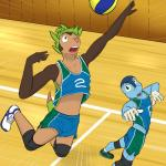5_fingers action_pose ankle_socks anthro anthrofied ball blue_eyes blue_skin brown_eyes brown_skin chespin clothed clothing digital_drawing_(artwork) digital_media_(artwork) dipstick_tail duo footwear froakie fuze gloves_(marking) green_hair gym hair hi_res humanoid_hands jumping knee_pads legwear looking_aside looking_up male markings midriff multicolored_tail nintendo open_mouth pink_nose playing_sport pokémon pokémon_(species) pokémorph pose shirt shoes short_hair shorts socks sport standing tan_skin tank_top uniform video_games volleyball volleyball_(ball) volleyball_court white_skin yellow_sclera
